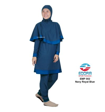 Baju Renang Muslimah Edora EMP 002 navy royal blue