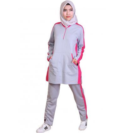 Baju Senam Wanita Muslimah Rocella dim grey