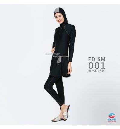 Baju Renang Muslimah Edora ED SM 001 Black Grey