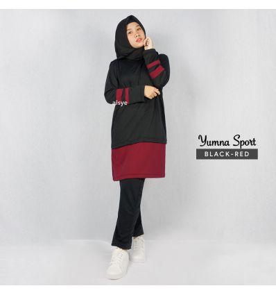 Baju Senam wanita Muslimah Yumna Sport Black Red