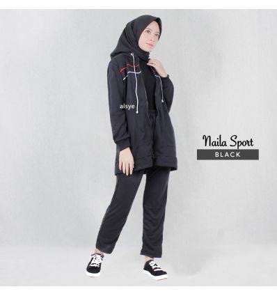 Baju Senam Wanita Muslimah Naila Sport Black Red