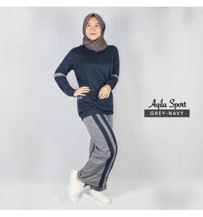 Baju Senam Wanita Muslim Aqila grey navy