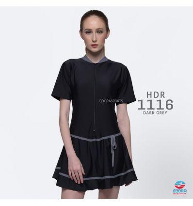 Baju Renang Wanita Edora Semi Cover HDR 1116 Dark Grey