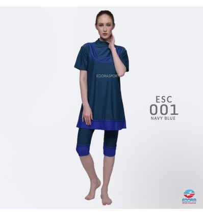 Baju Renang Wanita Edora Semi Cover ESC 001 Navy blue