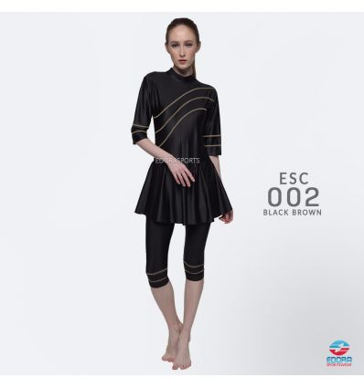 Baju Renang Wanita Edora Semi Cover ESC 002 Black Brown