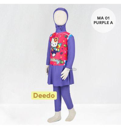 Baju Renang Anak TK Deedo MA 01 Purple A Hello Kitty
