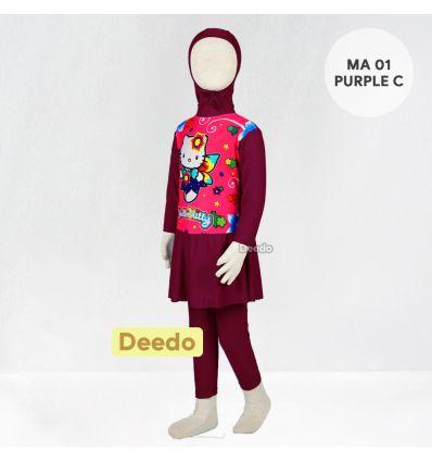 Baju Renang Anak TK Deedo MA 01 Purple C Hello Kitty