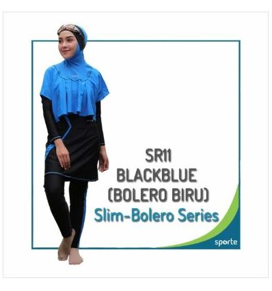 Baju Renang Muslimah Sporte SR 11 Black Blue Bolero