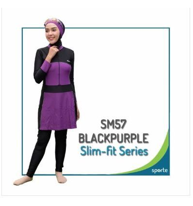 Baju Renang Muslimah Sporte SM 57 Black Purple