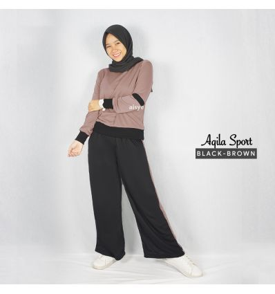 Baju Senam Wanita Muslim Aqila Black Brown