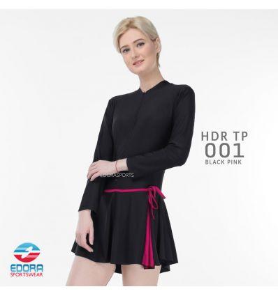 Baju Renang Wanita Edora Semi Cover HDR TP 001 Black Pink