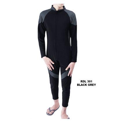 Baju Renang Pria Rizqy RDL 301 Black Grey