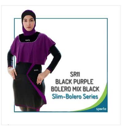 Baju Renang Muslimah Sporte SR 11 Black Purple ( purple bolero mix black)