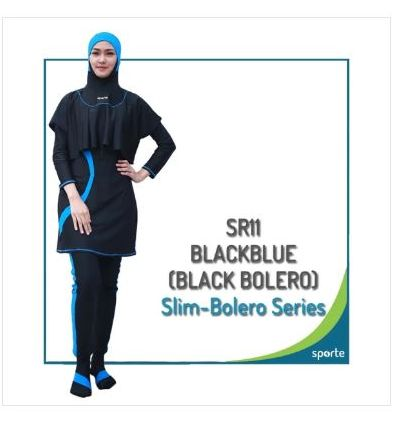 Baju Renang Muslimah Sporte SR 11 Black Blue Bolero (black)
