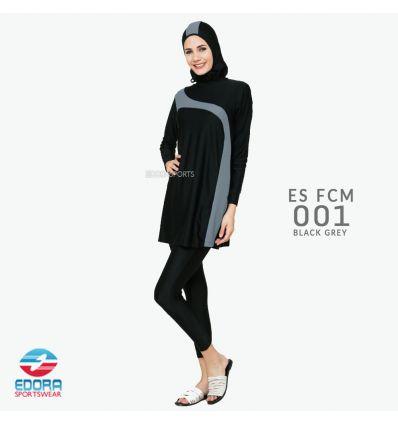Baju Renang Muslimah Edora ES FCM 001 Black Grey