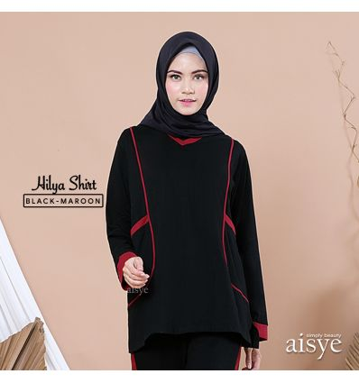 Aisye - Hilya Shirt Black Maroon