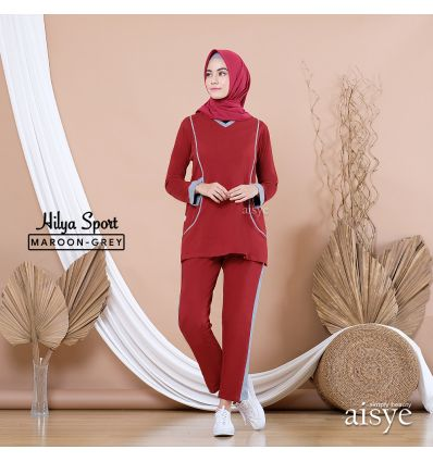 Aisye - Hilya Pants Maroon grey