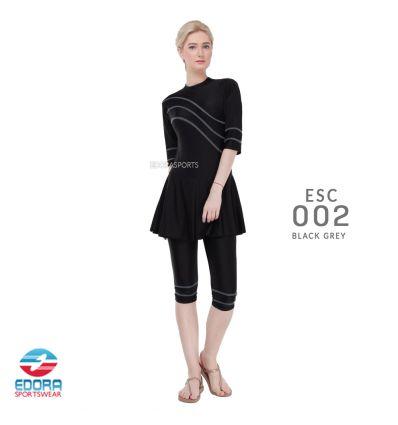 Baju Renang Wanita Edora Semi Cover ESC 002 Black Gray