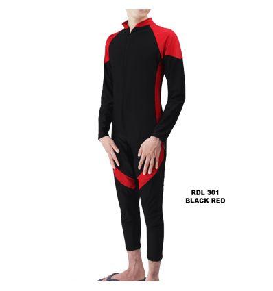 Baju Renang Pria Rizqy RDL 301 Black Red