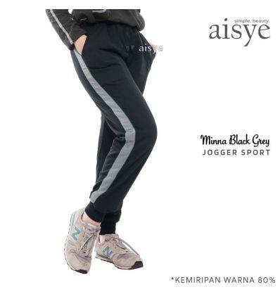 Aisye - Minna Black Grey Jogger Sport