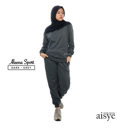 Baju Senam Wanita Muslimah Aleena Sport Dark Grey