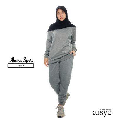 Baju Senam Wanita Muslimah Aleena Sport Grey