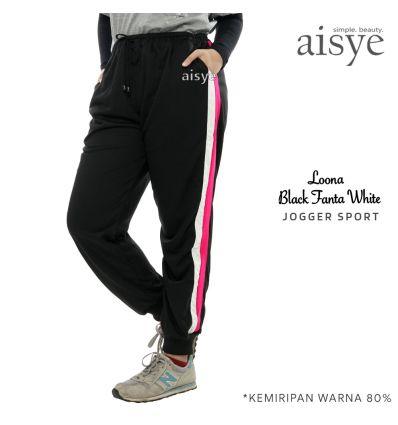 Aisye - Loona Black Fanta White Jogger Sport