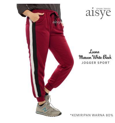 Aisye - Loona Maroon White Black Jogger Sport