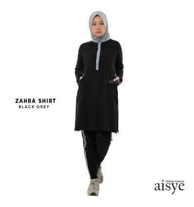 Aisye - Zahra Shirt Black Grey