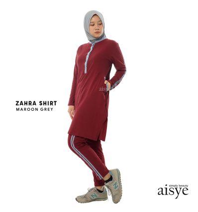 Aisye - Zahra Shirt Maroon Grey