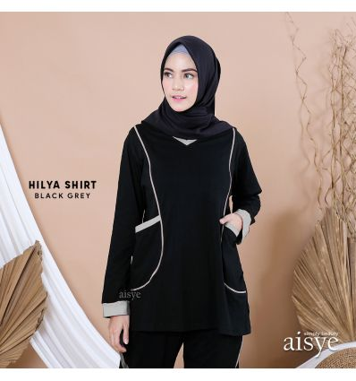 Aisye - Hilya Shirt Black Grey