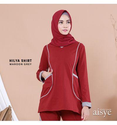 Aisye - Hilya Shirt Maroon grey