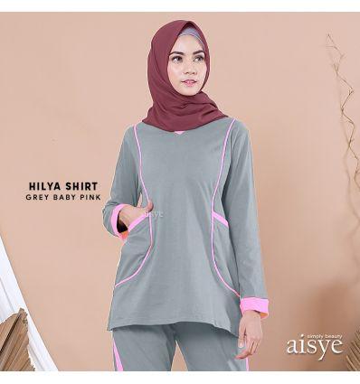 Aisye - Hilya Shirt Grey Baby Pink