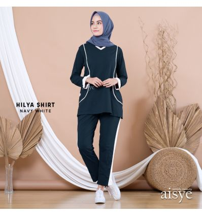 Aisye - Hilya Shirt Navy White
