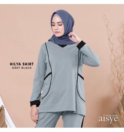 Aisye - Hilya Shirt Grey Black