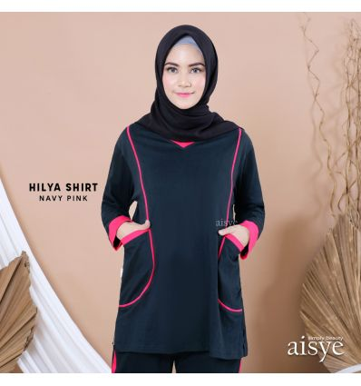 Aisye - Hilya Shirt Navy Pink