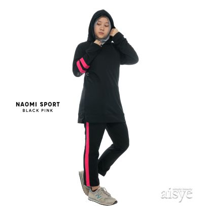 Aisye - Naomi Hoodie Sport Black Pink