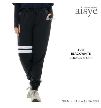 Aisye - Yuri Black White Jogger Sport