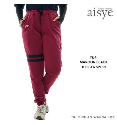 Aisye - Yuri Black Maroon Jogger Sport