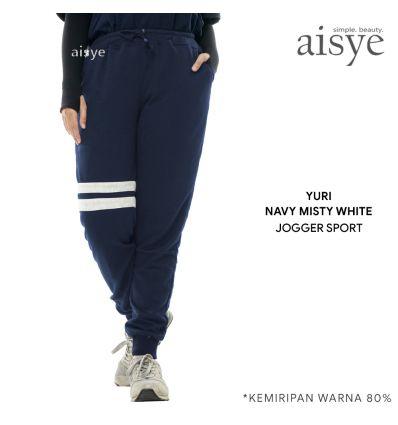 Aisye - Yuri Navy Misty White Jogger Sport
