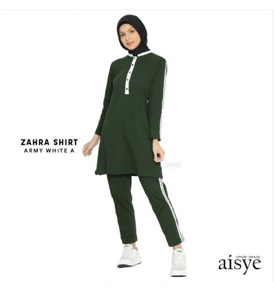 Aisye - Zahra Shirt Army White A