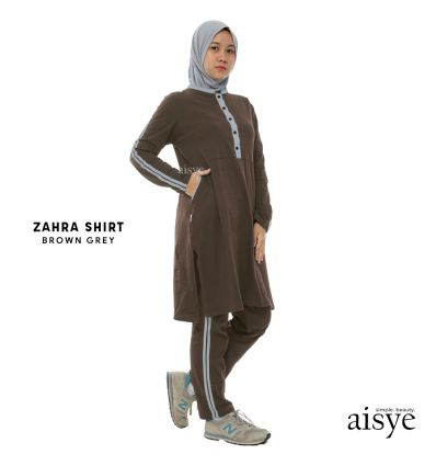 Aisye - Zahra Shirt Brown Grey