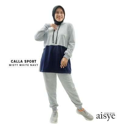 Aisye - CALLA Hoodie Sport Misty White Navy